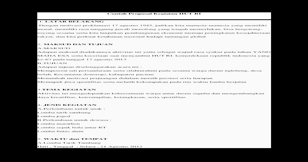 Contoh Proposal Kegiatan Hut Ri Docx Document