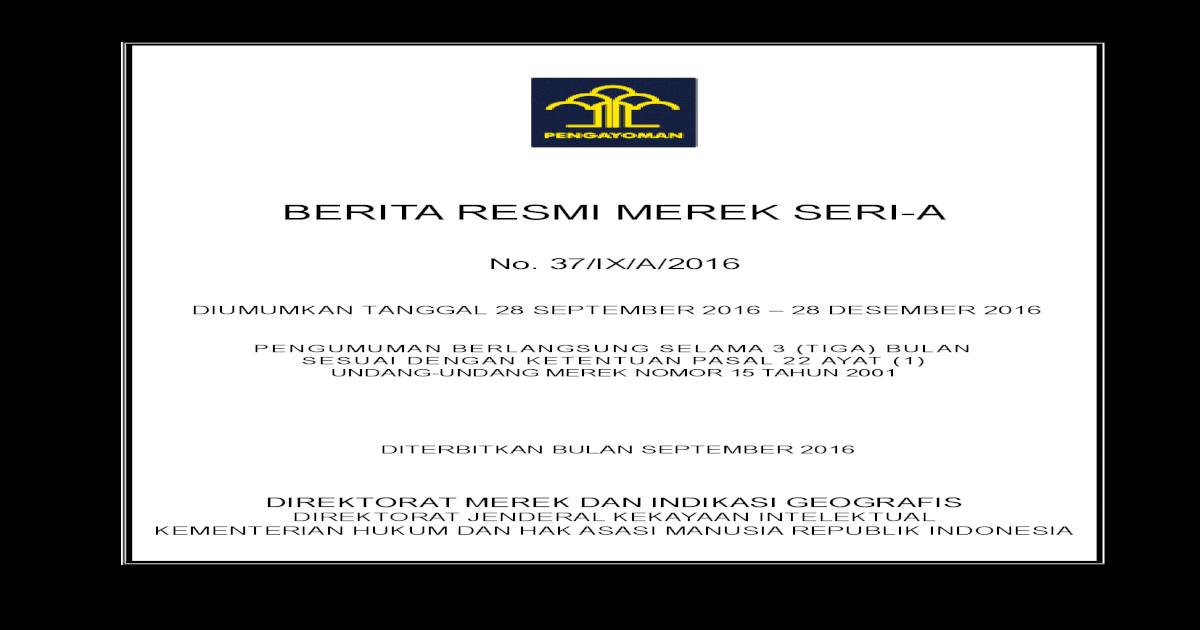 Berita Resmi Merek No 37 Ix A 2016 Pdf Document
