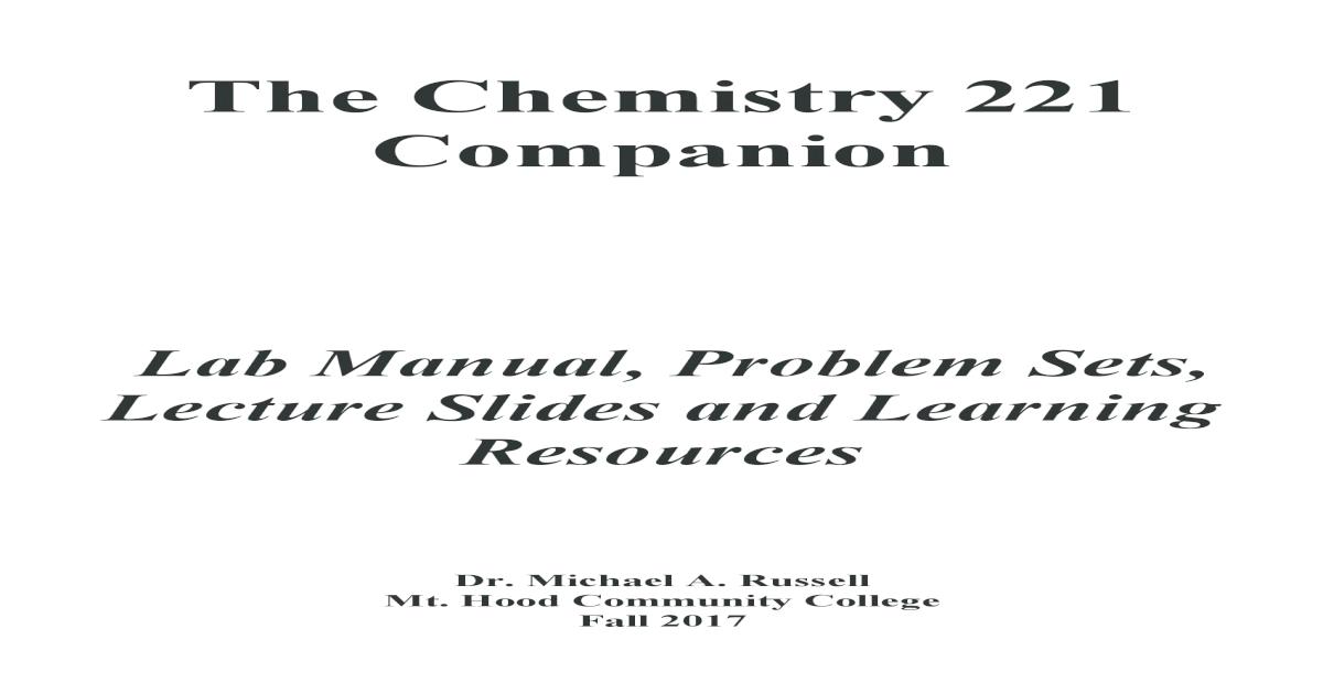 The Fall 2016 Chemistry 221 Companion - [PDF Document]