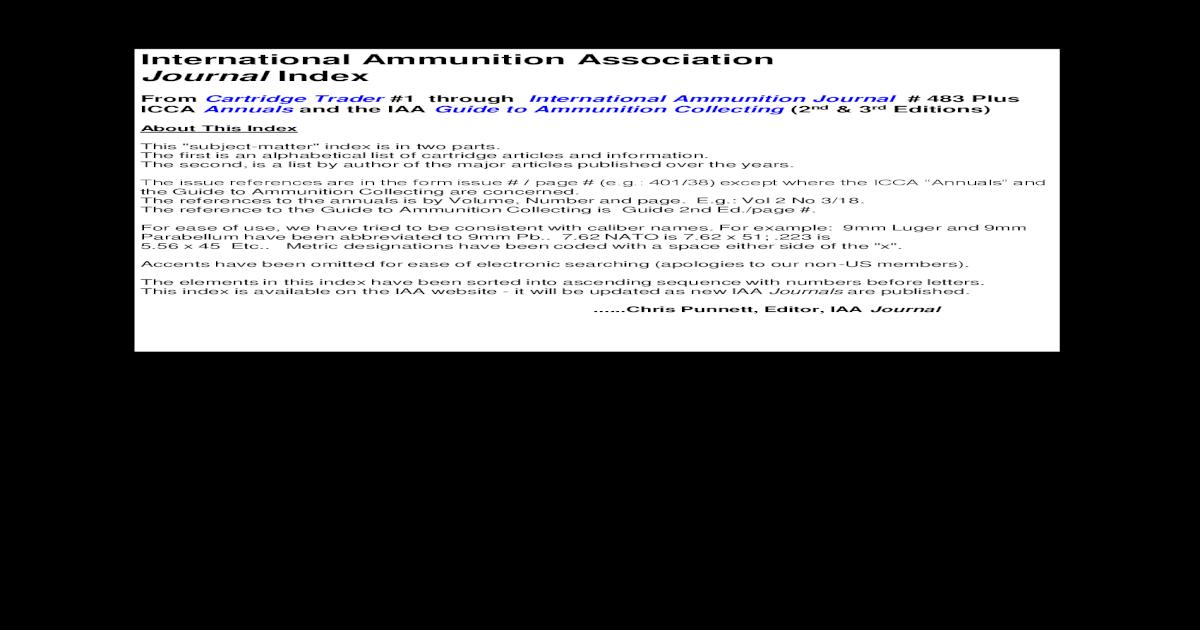 International Ammunition Association Journal Index - [PDF