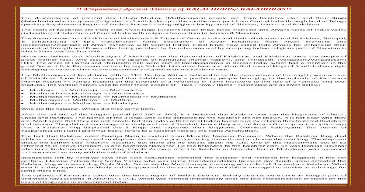 Expansion/Ancient History of KALACHURIS/ Kalachuris History Final