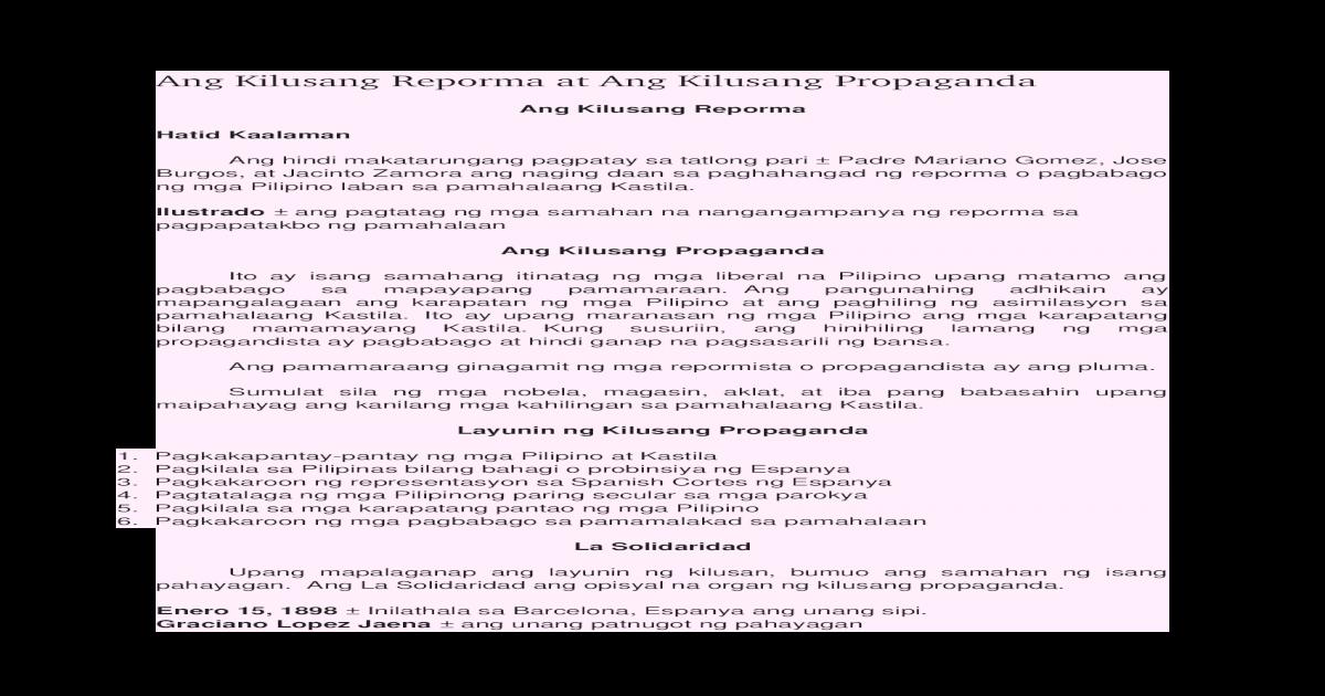 Ang Kilusang Reporma at Ang Kilusang Propaganda - [DOCX