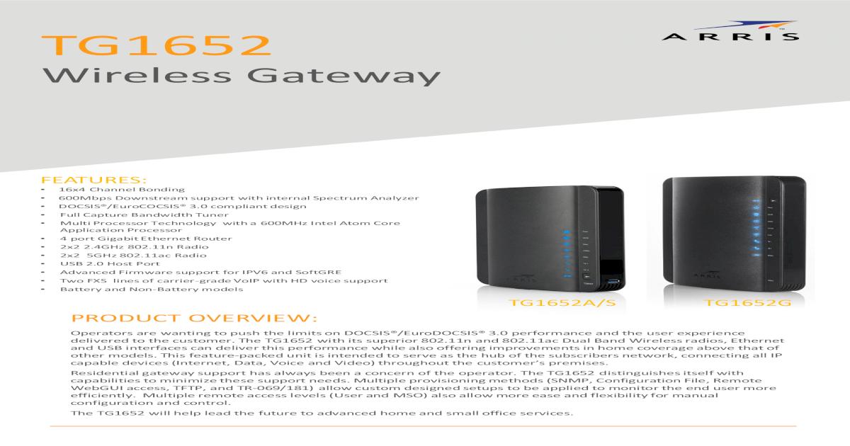 ARRIS Touchstone TG1652 Cable Voice Gateway - Wireless