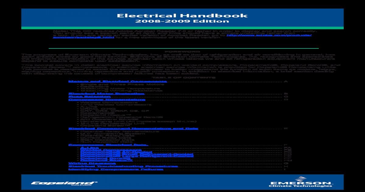 Copeland Electrical Handbook Pdf Pdf Document