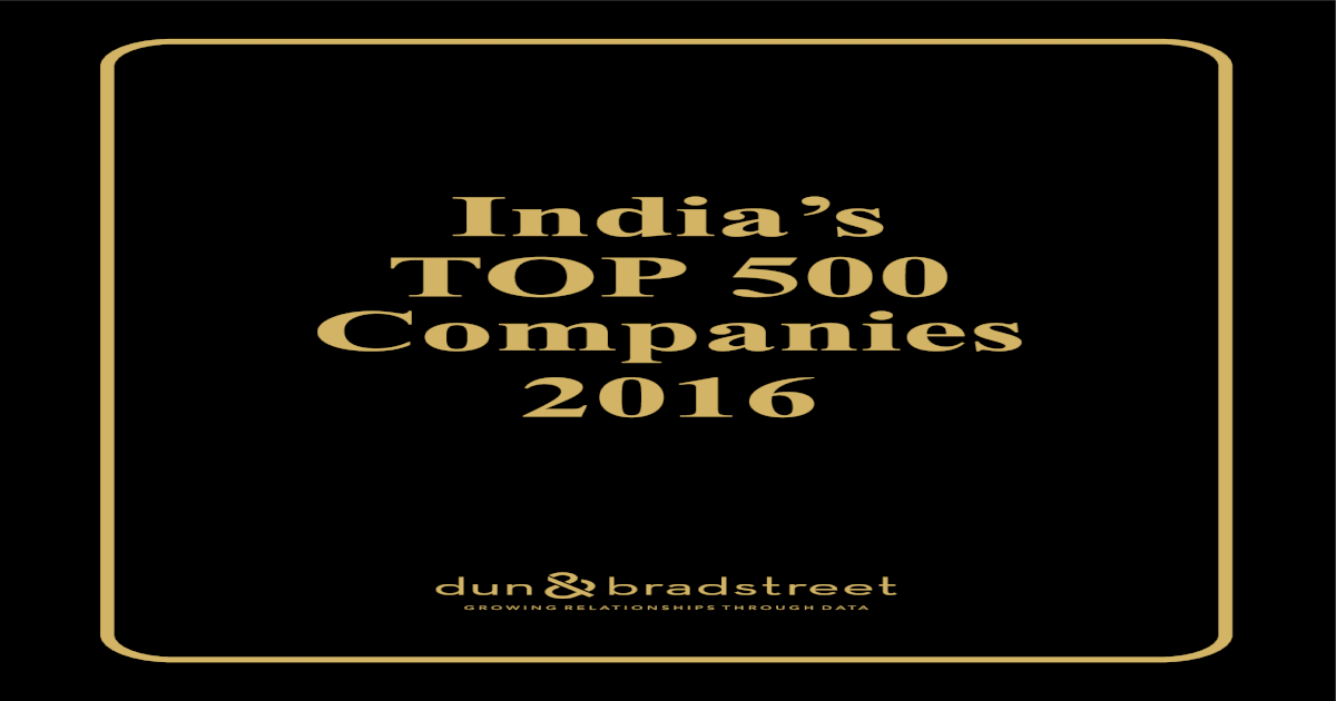India's Top 500 Companies Of India 2016 - [PDF Document]
