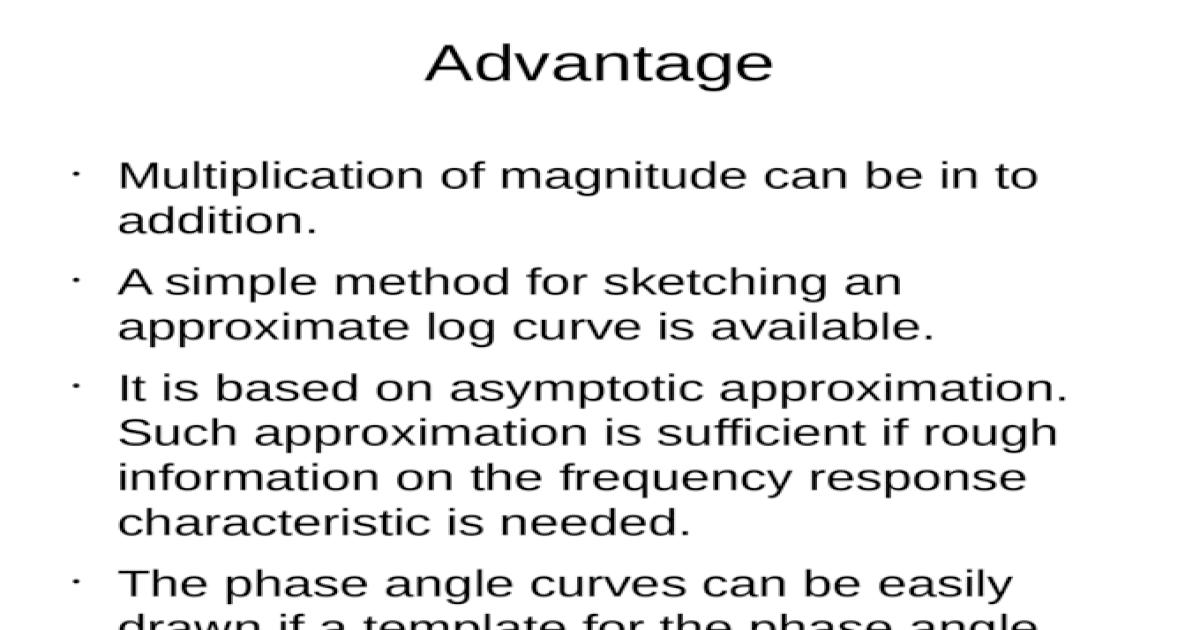 Advantage and Disadvantage Bode Plot - [PPTX Powerpoint]