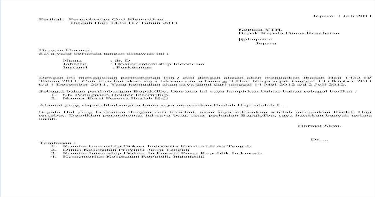 Surat Cuti Internship Pdf Document
