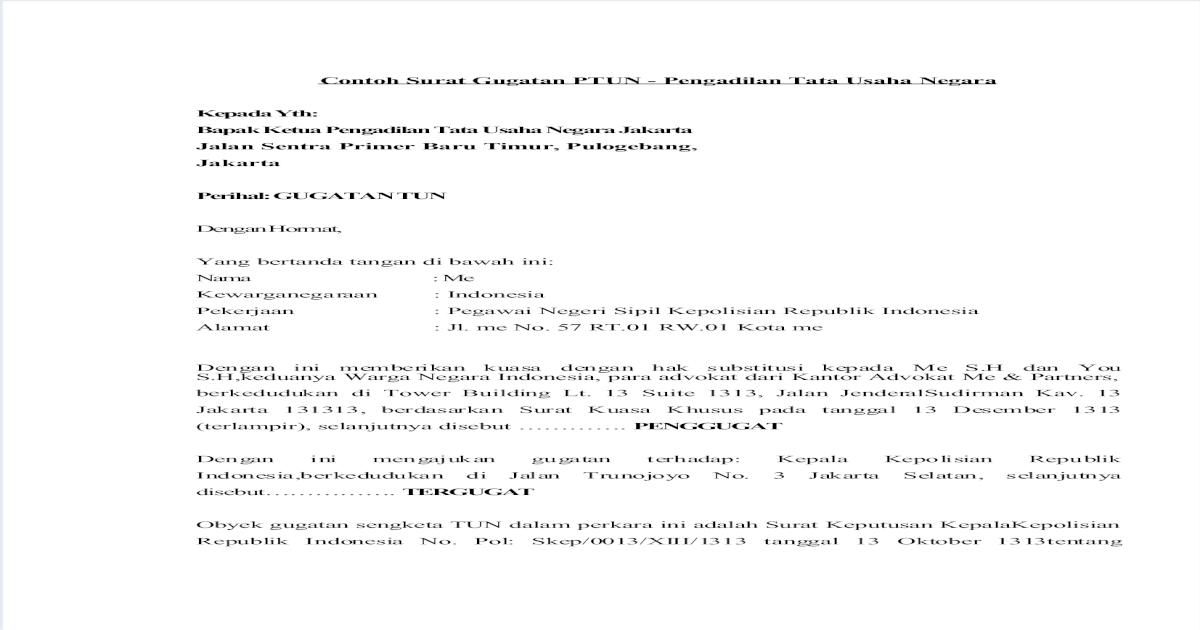 Contoh Surat Gugatan Ptun Pdf Document