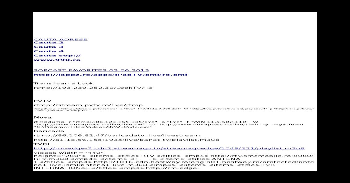 Adrese TV Ordonate - [ODT Document]